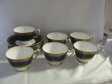 Crown Staffordshire cobalt blue gold 6 cup & saucer sets England