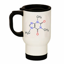 CAFFEINE COFFEE MOLECULE WHITE STAINLESS STEEL TRAVEL THERMAL MUG CUP TEACHER