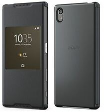 Genuine Sony Xperia Z5 SCR42 Smart Style Up Window Cover Case & Dock Clip Black