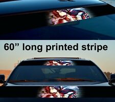 "60"" Anime Girl Manga Smoke Sun Strip Printed Windshield Car Vinyl Sticker Decal"