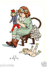 Reproduction Aquarelle L. Chalon Mobilisation 1914 - Petit fille poupée ancienne