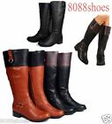 Soda Fashion Two Tone O-Ring Riding Knee High Boot Women's Shoes Size 6 - 11 NEW