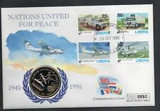 Liberia 1995 Nations United for Peace $1 Coin Cover