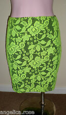 NEW LOOK NEON GREEN LACE BLACK STRETCH HIPSTER DISCO PARTY SKIRT  UK 6  8 NEW