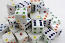 """WHOLESALE LOT 200 WHITE DICE MULTICOLOR PIPS 6 SIDED D6 DIE GAME SIX 5/8""""16mm"""