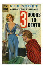 Pin Up Girl Poster 11x17 Pulp Novel Book 3 doors to death sexy blonde