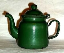 Diminutive GREEN PORCELAIN ENAMEL over TIN METAL ~ GOOSEBECK TEA or COFFEE POT