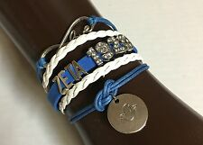 Zeta Phi Beta Infinity Bracelet Z Phi B Blue And White 1920 Rhinestones