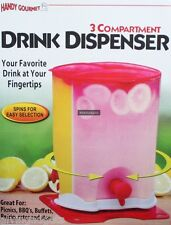 3 Compartment One Quart Revolving Drink Juice Dispenser Storage Jug