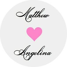 120 Personalized Custom Name Heart Wedding Round Stickers Envelope Seals