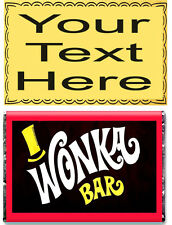 Personalised A5 EDIBLE Wafer Paper Willy Wonka Bar Golden Ticket * CAKE TOPPER *