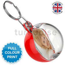 Personalised Red Custom Photo Gift Keyrings Circle Round Bauble Key Fobs 38 mm