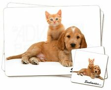 Spaniel and Kitten 'Soulmates' Twin 2x Placemats+2x Coasters Set in G, SOUL-54PC