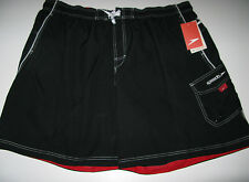 NWT Speedo Mens 4X Surf  Board Shorts Mesh Lined Trunks Black Big & Tall
