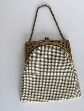 Vintage 1940's Whiting & Davis White Enameled Metal Mesh Purse Ornate Frame