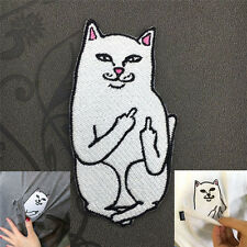 DIY Funny Middle Finger Cat Embroidery Sew Iron On Patch Badge Fabric Applique