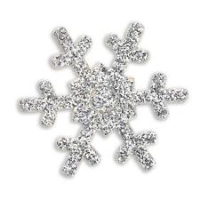 Self Adhesive SILVER Glitter Snowflake Stickers - 1 sheet of 12