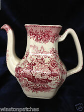 MASONS ASCOT RED COFFEE POT NO LID WHITE WITH RED FLORAL & URN ENGLAND