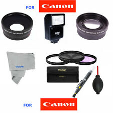 WIDE ANGLE LENS + TELEPHOTO ZOOM+FLASH +FILTERS FOR CANON REBEL EOS T3  18-55MM