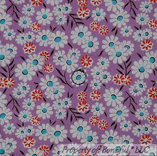BonEful Fabric Cotton Quilt VTG Purple White Red Blue Flower Leaf Garden L SCRAP