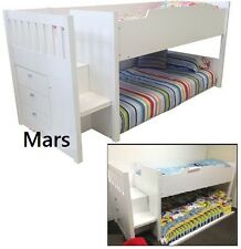 MARS CABIN BUNK SINGLE / SINGLE OR DOUBLE BED LOFT MIDI SLEEPER DRAWER IN WHITE