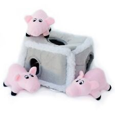 ZippyPaws Burrow Squeaky Hide and Seek Plush Dog Toy, Pig Pen New