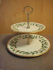 LENOX HOLIDAY China Double Tiered Dessert Plate Stand 24K gold trim 1st Quality