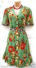 Next robe taille 14 vintage années 40 style rétro floral vert doublé # us 10 eu 42