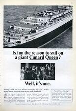 1965 Cunard Cruise Ship RMS Queen Elizabeth PRINT AD