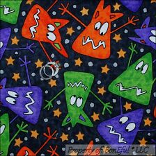 BonEful Fabric FQ Cotton Quilt Black White Orange Purple Green MONSTER Star Dot
