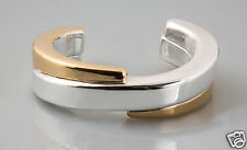 Simon Sebbag Sterling Silver two tone swirl cuff bracelet B1301V in Gold Plated