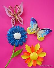 COLORFUL (4)pc LOT VINTAGE FLOWER PINS & BUTTERFLY BROOCHES~LOVELY VARIETY :)
