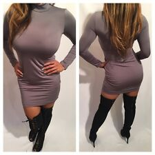 Connie's Gray Long sleeve Mock Neck Mini Dress Party Dress S