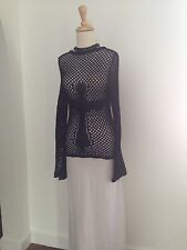 RICHMOND X Italy Unisex Edgy Fashion Forward Crocheted Cross  Sheer Sweater  S