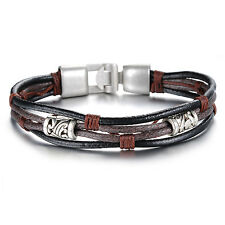 Mens Unisex Brass Clasp Leather Black Brown Bracelet G98