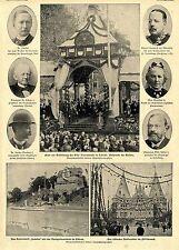 Lübeck Kaiser bei Eröffnung des Elbe- Travekanals Kaiserschiff Lubeka Bildd.1900