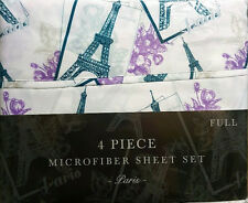 NEW PARIS EIFFEL TOWER FLORAL 4 PC FULL BED SHEET SET PURPLE TURQUOISE GRAY RARE