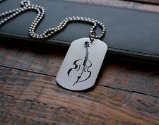 Hand Made Etched Nickel Silver Dog Tag - Upright Bass - Double - Stand up