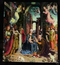 Glass Magic Lantern Slide THE ADORATION OF THE KINGS BY MABUSE C1910 ART PHOTO
