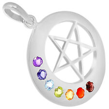 Moon and Star Chakra 925 Sterling Silver Pendant Jewelry AAACP216