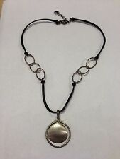 Silpada Black Leather Necklace .925 Sterling Silver Disc Pendant