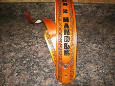 HAND TOOLED LEATHER GUITAR STRAP WITH NAME ( PERSONALIZED) TAN/ MED. BROWN EAGLE