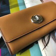 Coach 53663 Walnut Brown Smooth Leather Turnlock Slim Envelope Wallet Clutch