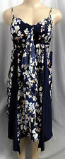 """VERA WANG"" NAVY BLUE FLORAL WATERFALL EMPIRE CAREER COCKTAIL DRESS SIZE: PL"