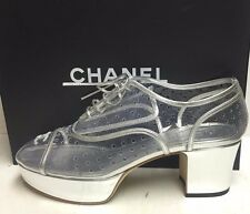 Chanel Runway 16S CC Logo Transparent Clear PVC Silver Leather Platform Shoes 41