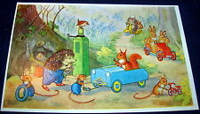 Medici Society - Woodland Garage Fantasy Animals Postcard by Molly Brett