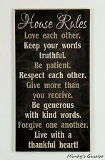 black wood sign HOUSE RULES Handmade gift family rules