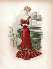 3 Victorian Edwardian Ladies Dress Design Fashion Colour Pictures Reprint Prints