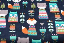 FOLK FOXES & BEARS ANIMAL FLANNEL FABRIC 100% COTTON SEWING QUILTING SOLD BTY