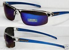 New X-Man Eyewear Silver Blue Mirrored Lens Mens Sports Wrap Sunglasses Metal